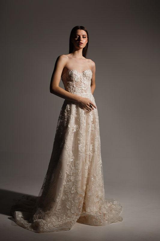 Alena Leena Strapless Wedding Dress - White Satin Bridal Boutique Ottawa - Designer & Luxury Wedding Gown - Off the rack & custom order - Bridal Seamstress