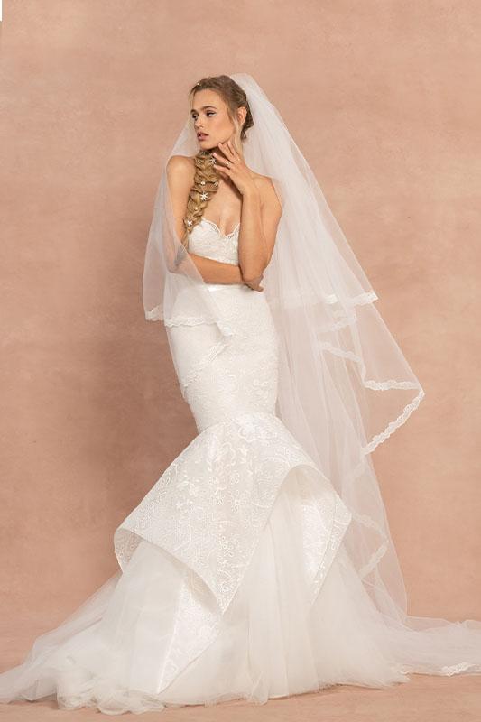 Hayley Paige Mermaid Dress with Veil - White Satin Bridal Boutique Ottawa - Designer & Luxury Wedding Gown - Off the rack & custom order - Bridal Seamstress