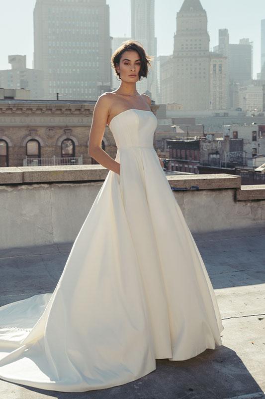 Jenny Yoo Strapless Crepe Dress - White Satin Bridal Boutique Ottawa - Designer & Luxury Wedding Gown - Off the rack & custom order - Bridal Seamstress