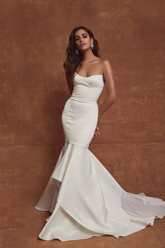 Sarah Seven Strapless - White Satin Bridal Boutique Ottawa - Designer & Luxury Wedding Gown - Off the rack & custom order - Bridal Seamstress