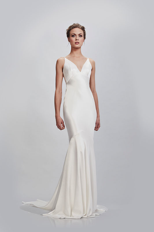 Theia Couture Sheath dress - White Satin Bridal Boutique Ottawa - Designer & Luxury Wedding Gown - Off the rack & custom order - Bridal Seamstress