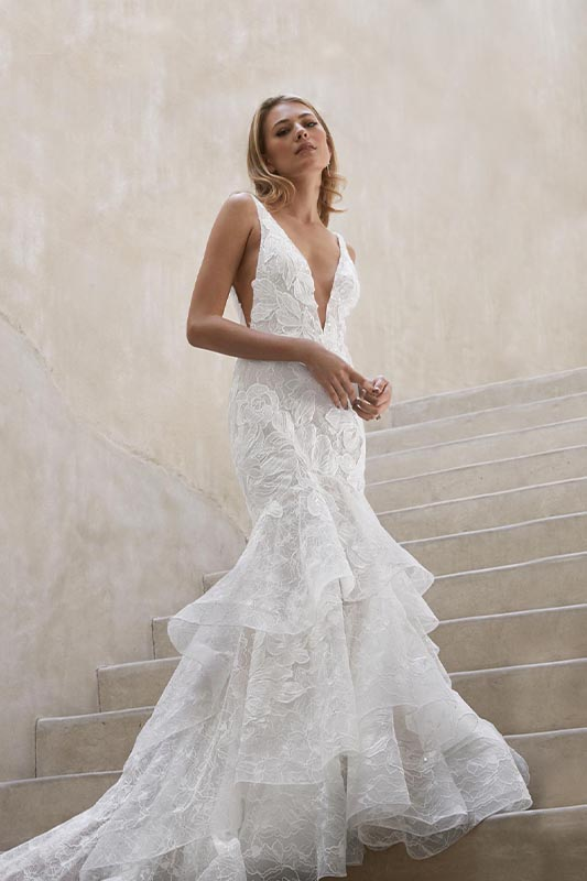 Watters Fitted Ruffles - White Satin Bridal Boutique Ottawa - Designer & Luxury Wedding Gown - Off the rack & custom order - Bridal Seamstress