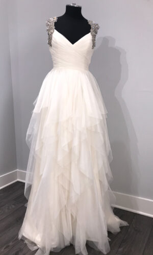 Carrie Front Hayley Paige - White Satin Bridal Boutique Ottawa - Designer & Luxury Wedding Gown - Off the rack & custom order - Bridal Seamstress