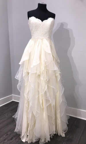 Kira Front Hayley Paige - White Satin Bridal Boutique Ottawa - Designer & Luxury Wedding Gown - Off the rack & custom order - Bridal Seamstress