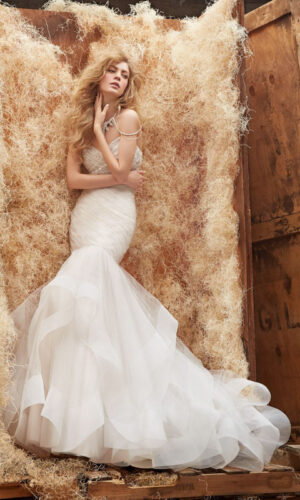 Front Aurora Hayley Paige - White Satin Bridal Boutique Ottawa - Designer & Luxury Wedding Gown - Off the rack & custom order - Bridal Seamstress