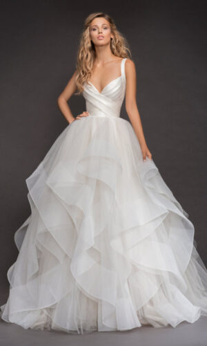 Front Bowie Hayley Paige - White Satin Bridal Boutique Ottawa - Designer & Luxury Wedding Gown - Off the rack & custom order - Bridal Seamstress