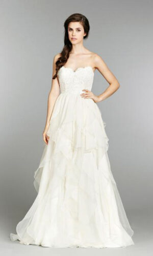 Kira Front Hayley Paige - White Satin Bridal Boutique Ottawa - Designer & Luxury Wedding Gown - Off the rack & custom order - Bridal Seamstress