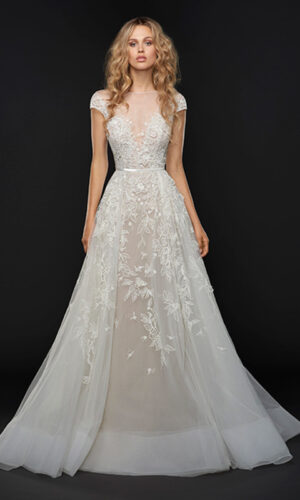 Vaughn Front Hayley Paige - White Satin Bridal Boutique Ottawa - Designer & Luxury Wedding Gown - Off the rack & custom order - Bridal Seamstress