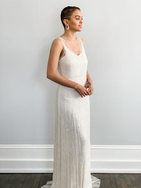 Front Spring by Sarah Seven - White Satin Bridal Boutique Ottawa - Designer & Luxury Wedding Gown - Off the rack & custom order - Bridal Seamstress