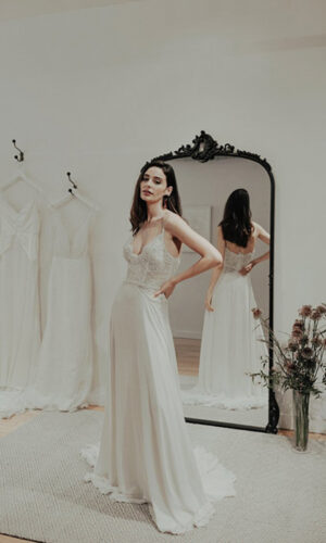 Highness Front by Sarah Seven - White Satin Bridal Boutique Ottawa - Designer & Luxury Wedding Gown - Off the rack & custom order - Bridal Seamstress