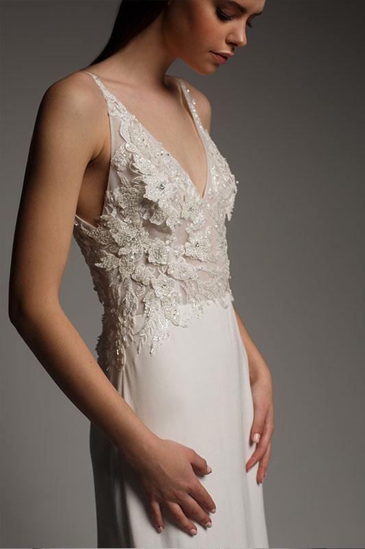 Alena Leena Dress - White Satin Bridal Boutique Ottawa - Designer & Luxury Wedding Gown - Off the rack & custom order - Bridal Seamstress