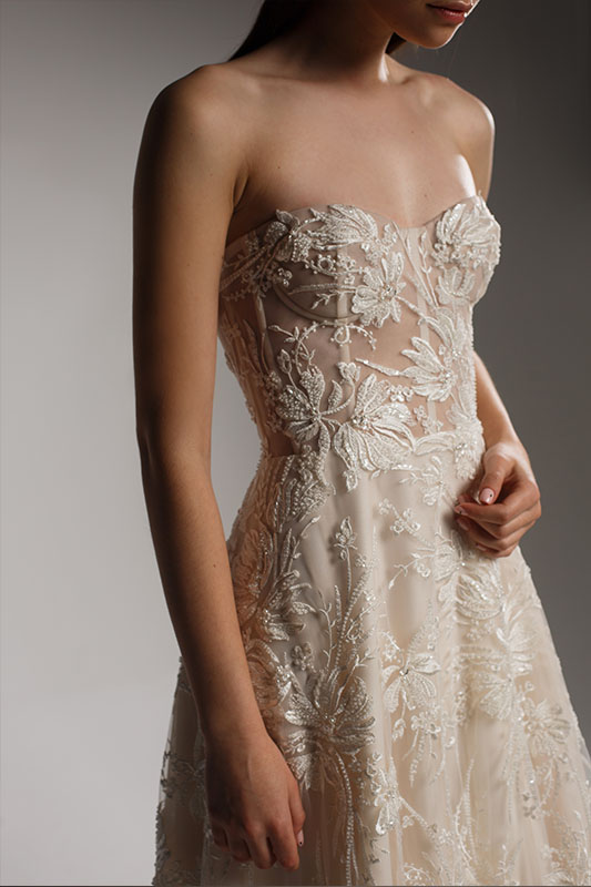 Alena Leena Strapless Dress - White Satin Bridal Boutique Ottawa - Designer & Luxury Wedding Gown - Off the rack & custom order - Bridal Seamstress