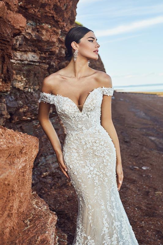 Calla Blanche off the shoulder dress - White Satin Bridal Boutique Ottawa - Designer & Luxury Wedding Gown - Off the rack & custom order - Bridal Seamstress