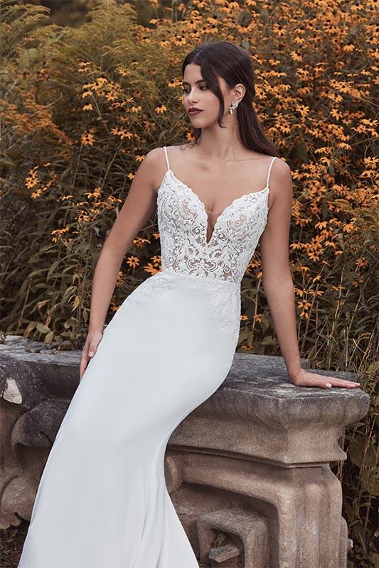 Calla Blanche spaghetti strap dress - White Satin Bridal Boutique Ottawa - Designer & Luxury Wedding Gown - Off the rack & custom order - Bridal Seamstress