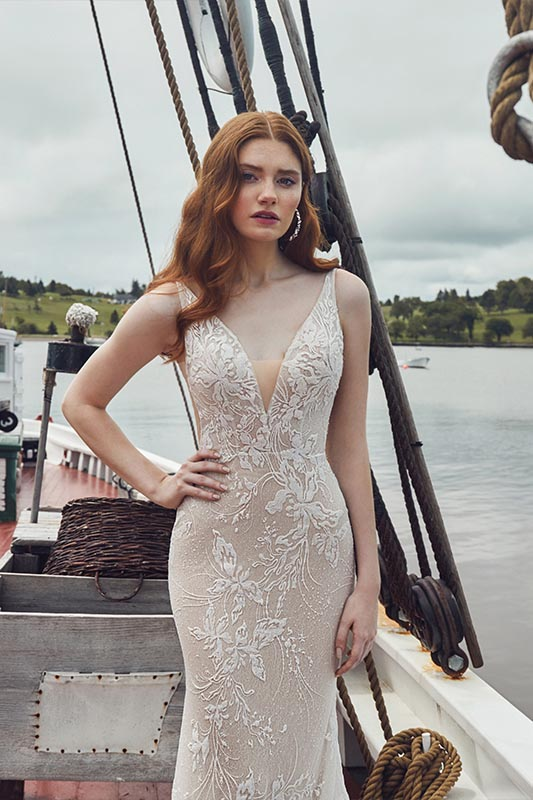 Calla Blanche L'amour dress on boat - White Satin Bridal Boutique Ottawa - Designer & Luxury Wedding Gown - Off the rack & custom order - Bridal Seamstress