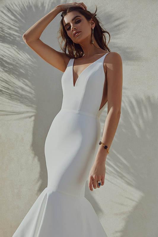 Sarah Seven 1 Crepe Dress - White Satin Bridal Boutique Ottawa - Designer & Luxury Wedding Gown - Off the rack & custom order - Bridal Seamstress
