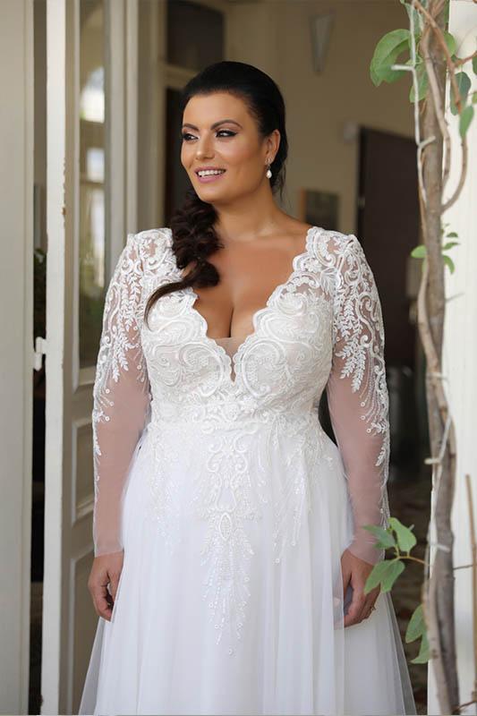 Studio Levana Sleeved Dress Plus Size Curvy Wedding Dress - White Satin Bridal Boutique Ottawa - Designer & Luxury Wedding Gown - Off the rack & custom order - Bridal Seamstress
