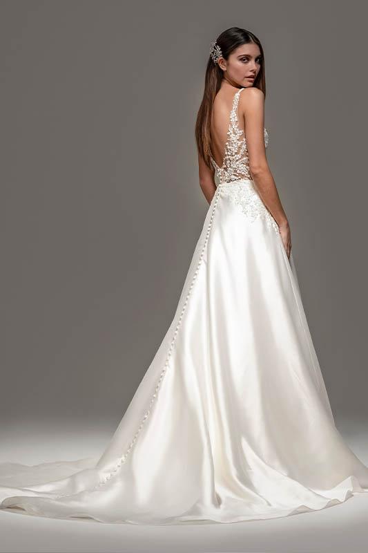Tara Keely Back of Dress - White Satin Bridal Boutique Ottawa - Designer & Luxury Wedding Gown - Off the rack & custom order - Bridal Seamstress