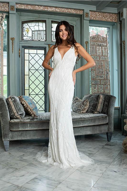 Theia Couture Geometric - White Satin Bridal Boutique Ottawa - Designer & Luxury Wedding Gown - Off the rack & custom order - Bridal Seamstress
