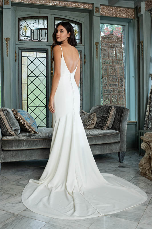 Theia Couture Back of dress. - White Satin Bridal Boutique Ottawa - Designer & Luxury Wedding Gown - Off the rack & custom order - Bridal Seamstress