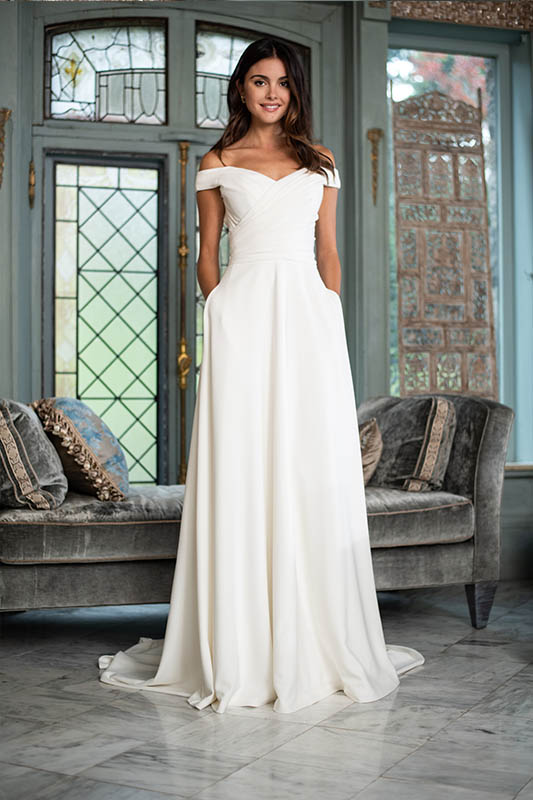 Theia Couture Off the shoulder dress - White Satin Bridal Boutique Ottawa - Designer & Luxury Wedding Gown - Off the rack & custom order - Bridal Seamstress