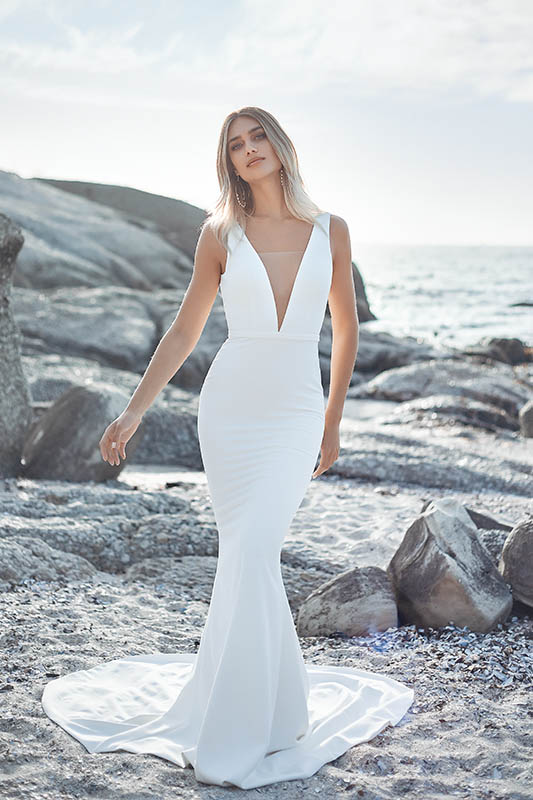 Vagabond Plunge - White Satin Bridal Boutique Ottawa - Designer & Luxury Wedding Gown - Off the rack & custom order - Bridal Seamstress