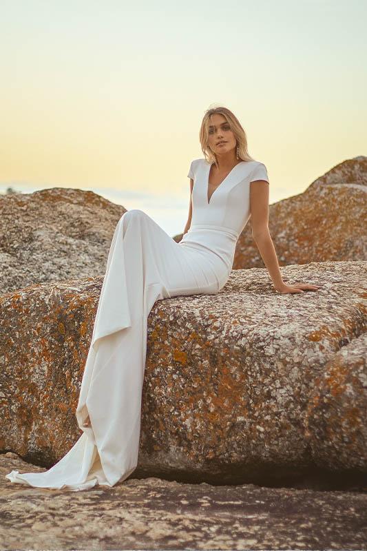 Vagabond Cap Sleeves - White Satin Bridal Boutique Ottawa - Designer & Luxury Wedding Gown - Off the rack & custom order - Bridal Seamstress