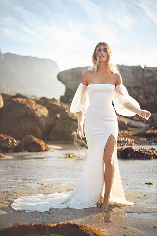 Vagabond Puff Sleeves and slit - White Satin Bridal Boutique Ottawa - Designer & Luxury Wedding Gown - Off the rack & custom order - Bridal Seamstress
