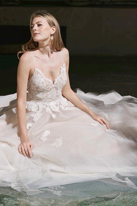 Watters Spaghetti Strap - White Satin Bridal Boutique Ottawa - Designer & Luxury Wedding Gown - Off the rack & custom order - Bridal Seamstress