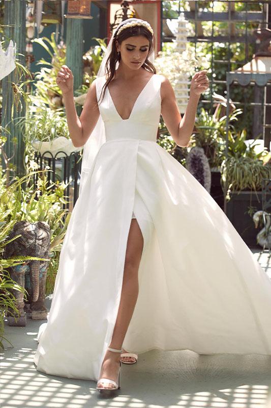 Watters Willowby Slit - White Satin Bridal Boutique Ottawa - Designer & Luxury Wedding Gown - Off the rack & custom order - Bridal Seamstress