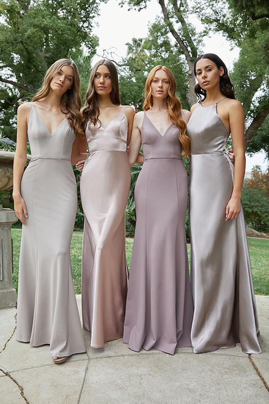 Jenny Yoo Bridesmaids Dresses in Light Purple - White Satin Bridal Boutique Ottawa - Designer & Luxury Wedding Gown - Off the rack & custom order - Bridal Seamstress